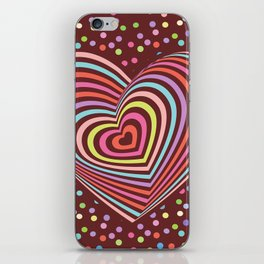 multi-colored rainbow heart on dark brown background. 3D iPhone Skin