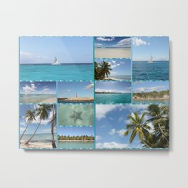 Great Tropical Paradise Caribbean Photo Collage Metal Print
