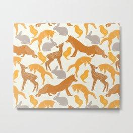 Deer Fox Rabbit Chick Playing Metal Print