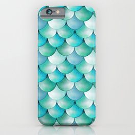 mermaid scales, turquoise shimmer iPhone Case