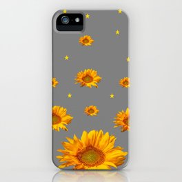 RAINING GOLDEN STARS YELLOW SUNFLOWERS GREY COLOR iPhone Case