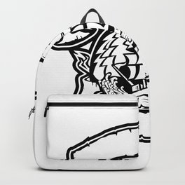 Wolf Pirate Ship Banner Retro Backpack