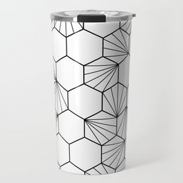 Peacock comb black white geometric pattern Travel Mug