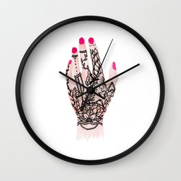 Modern watercolor hand  floral henna tattoo pink nails Wall Clock