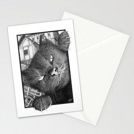 Malevolent One Eyed Black Cat in a Medieval Village Stationery Cards