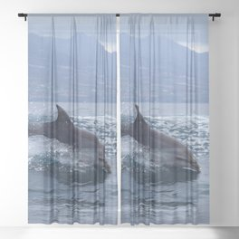 Wild and free bottlenose dolphin Sheer Curtain
