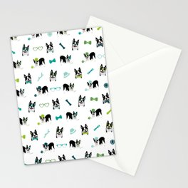 Boston Terriers Pattern Green Stationery Cards