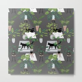 cats in the interior dark pattern Metal Print