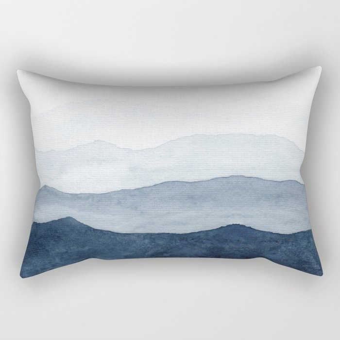 Indigo Abstract Watercolor Mountains Rectangular Pillow