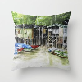 Fishermans Village Throw Pillow