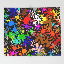 Colourful Fun Paint Blots and Stains Throw Blanket