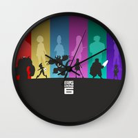 big hero 6 Wall Clocks featuring The Big Hero 6 by Travis Love