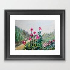 Magenta Plum Bearded Iris Waltz Framed Art Print
