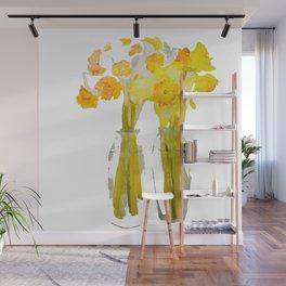 Daffodils watercolor Wall Mural