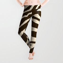 ZEBRA IN WINTER BROWN AND WHITE Leggings