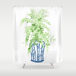 Ginger Jar + Maidenhair Fern Shower Curtain