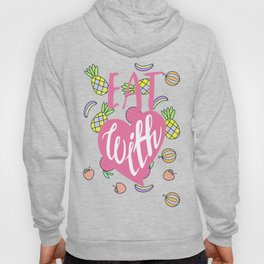 Eat with love typography exotic fruits pattern Hoody