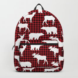 Plaid camping animals minimal bear moose deer nursery decor gender neutral woodland Backpack