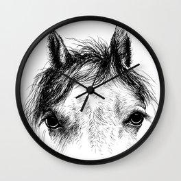 Horse animal head eyes ink drawing illustration. Mammal face portrait Wall Clock