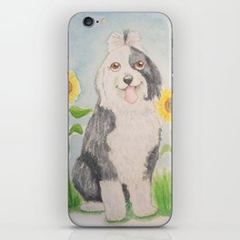 Old English Sheepdog with sunflowers iPhone Skin