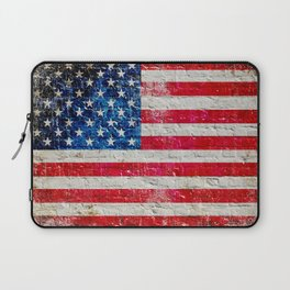 Distressed American Flag On Old Brick Wall - Horizontal Laptop Sleeve