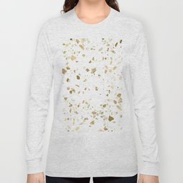 Metallic Gold Terrazzo Sparkle Long Sleeve T-shirt
