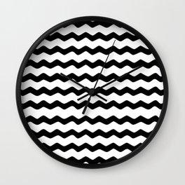 Black and White Zig Zag Pattern Wall Clock