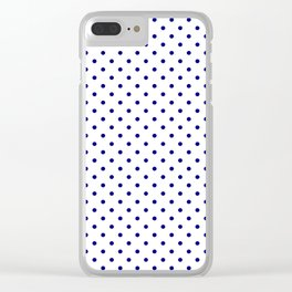 Dots (Navy Blue/White) Clear iPhone Case