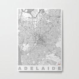 Adelaide Map Line Metal Print