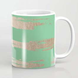Abstract Paint Stripes Gold Tropical Green Coffee Mug