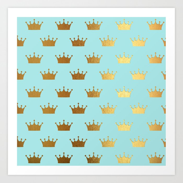 Gold Glitter effect crowns on aqua - Heraldy Pattern for Princesses on #Society6 Art Print