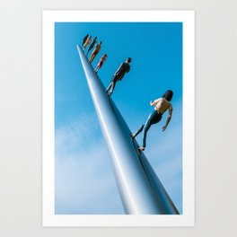 Walking To The Sky Blue Print Art Print