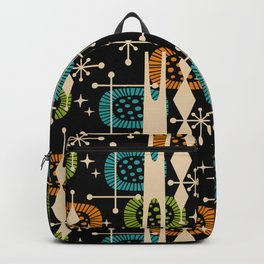 Retro Atomic Mid Century Pattern Black Orange Green and Turquoise Backpack