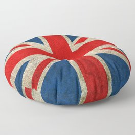 Old and Worn Distressed Vintage Union Jack Flag Floor Pillow