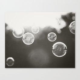 Bubble Photography, Black and White Bathroom Art, Laundry Room Photo Canvas Print