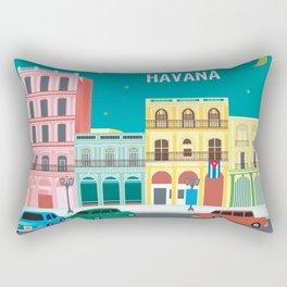 Havana, Cuba - Skyline Illustration by Loose Petals Rectangular Pillow