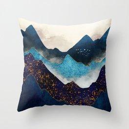 Indigo Peaks Throw Pillow