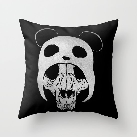 Panda Skull Throw Pillow