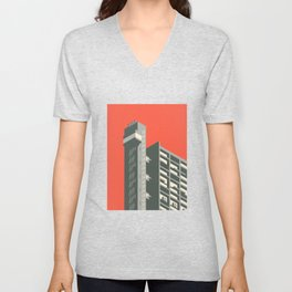 Trellick Tower London Brutalist Architecture - Red Unisex V-Neck