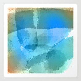 Blue Beach Abstract Watercolor Art Print