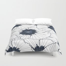 Navy and white poppies Duvet Cover