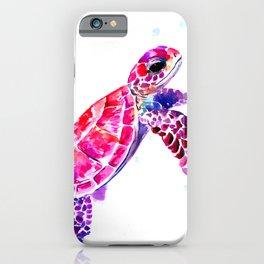 Purple Turtle Bright Pink, purple blue turtle illustration iPhone Case