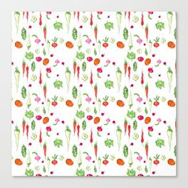 Veggie Party Pattern Canvas Print