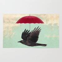 magritte Area & Throw Rugs featuring Raven Cover by Vin Zzep