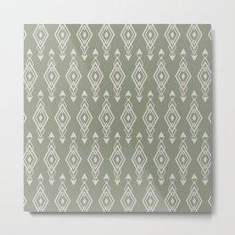 Festive, Aztec, Geometric Art, Sage Green, Wall Art Boho Metal Print