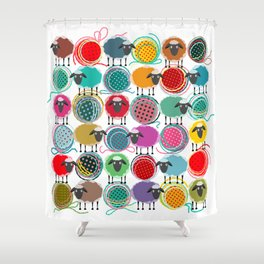 Bright Sheep and Yarn Pattern Shower Curtain