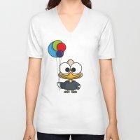 ballon V-neck T-shirts featuring Balloon - ballon de baudruche by binbinrobin