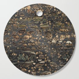 Terrazzo - Mosaic - Wooden texture and gold #5 Cutting Board