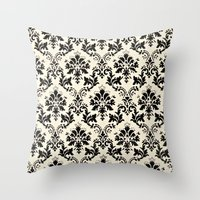 damask Throw Pillows featuring Damask by MJ Lira Photography