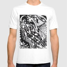 The City Never Sleeps White Mens Fitted Tee MEDIUM